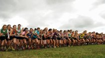 16 October 2016; A general view of the start of the women's senior race during the Autumn Open Cross Country Festival at the National Sports Campus in Abbotstown, Dublin. Photo by Sam Barnes/Sportsfile